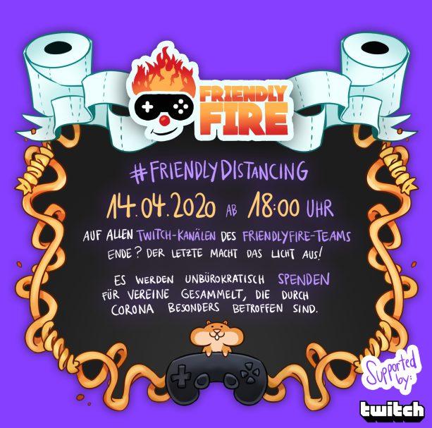 Friendly Fire Ankündigungsmotiv Charity-Stream bei Twitch mit Gronkh, PietSmiet undmehr