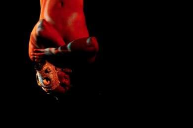 Eine Person, die eine Maske trägt hängt kopfüber von der Decke. Ausschnitt aus einer Performance, die beim Tanz im August präsentiert wird.