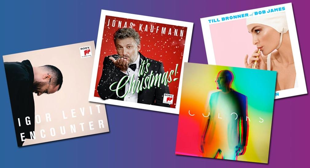 Cover der Alben von Igor Levit, Jonas Kaufmann, Christopher von Deylen und Till Brönner