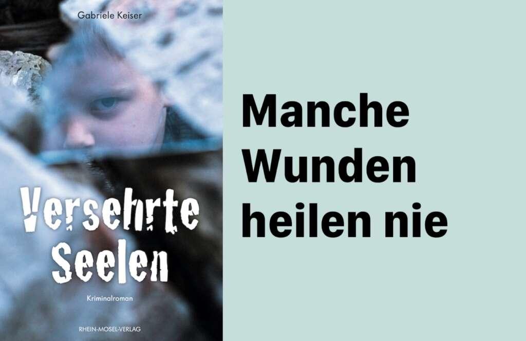 """Das Cover von """"Versehrte Seelen"""". Auf dem Bild ist ein Junge zu sehen, dessen Gesicht sich in einer Glasscherbe spiegelt. Rechts neben dem Cover steht: Manche wunden heilen nie."""