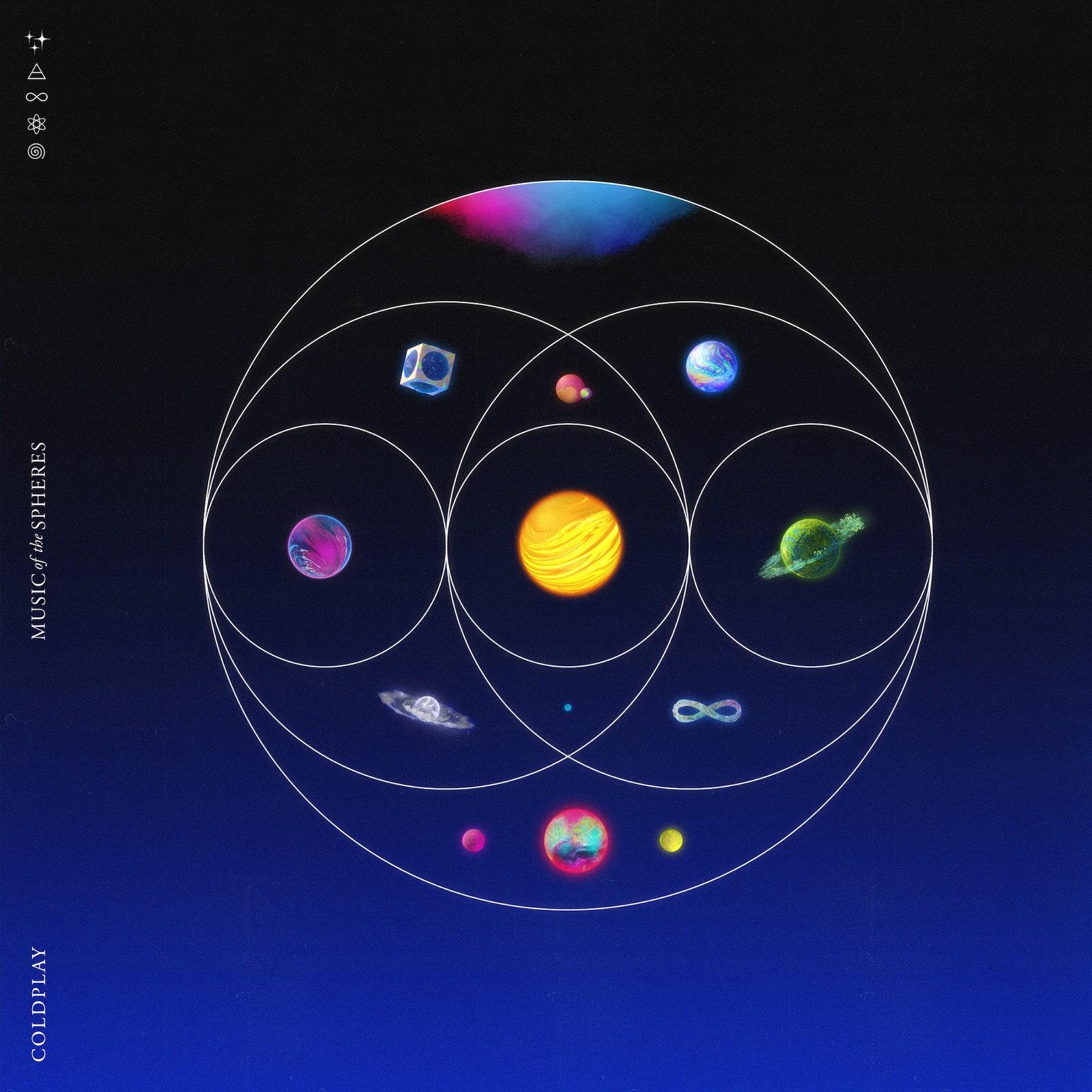 Coldplay Albumcover blauer Hintergrund Planeten Kreise
