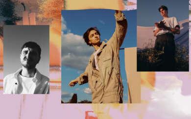 Drei Männer Collage Schwarz weiß Himmel Farben