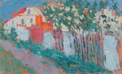 """Museum Barberini Potsdam, """"Impressionismus in Russland. Aufbruch zur Avantgarde"""" Kasimir Malewitsch Sommer (oder Haus und Garten), 1906 Öl auf Karton, 19,2 x 31 cm"""